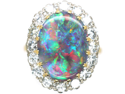 18ct White & Yellow Gold, Black Opal & Diamond Cluster Ring