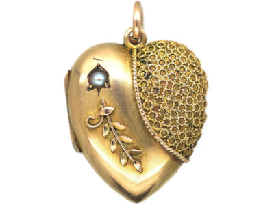 Edwardian 9ct Gold Heart Shaped Locket set with a Natural Split Pearl