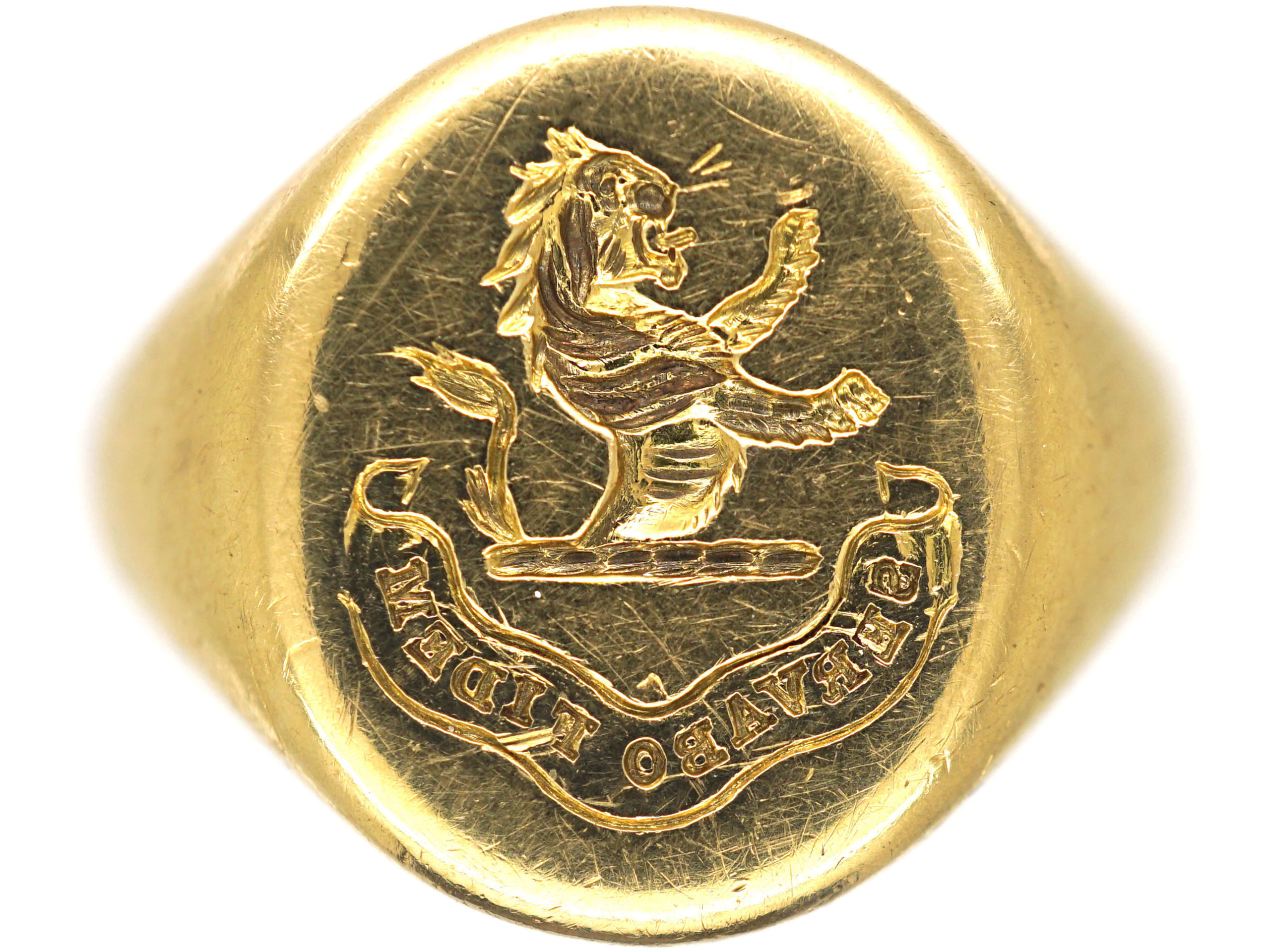 Victorian 18ct Gold Signet Ring with Intaglio of a Lion Rampant