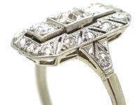 Art Deco 14ct Gold & Diamond Rectangular Ring