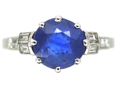 Art Deco Platinum, Ceylon Sapphire & Diamond Ring