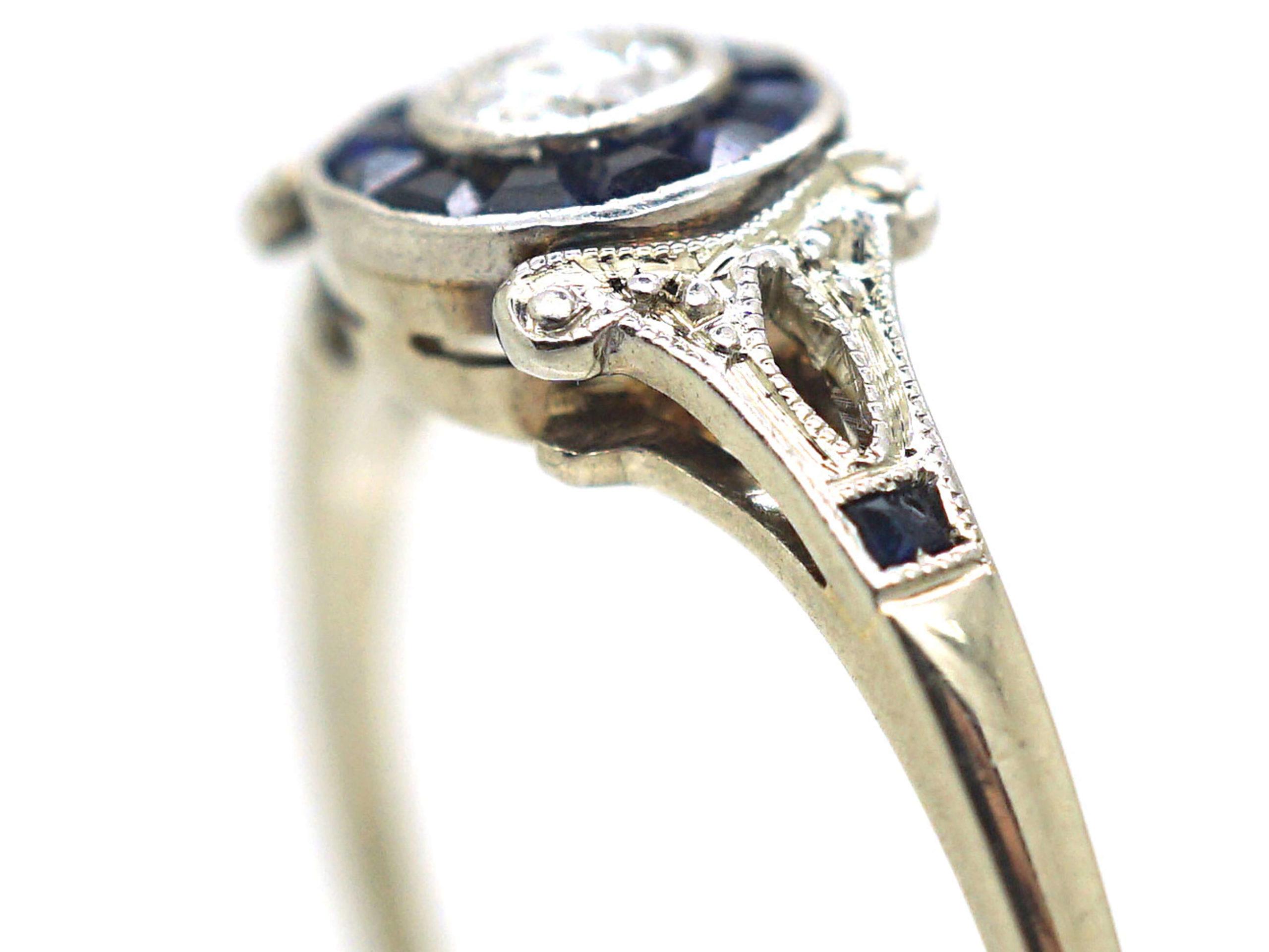 Art Deco 14ct White Gold, Sapphire & Diamond Target Ring