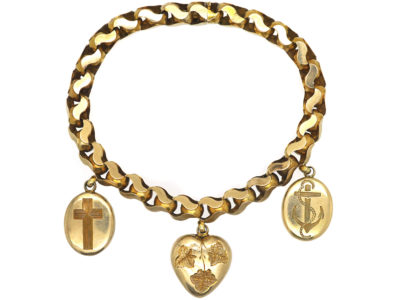 Victorian 9ct Gold Faith Hope & Charity Bracelet