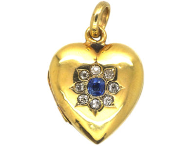 Edwardian 15ct Gold Heart Shaped Locket with Flower Motif set with a Sapphire & Diamonds
