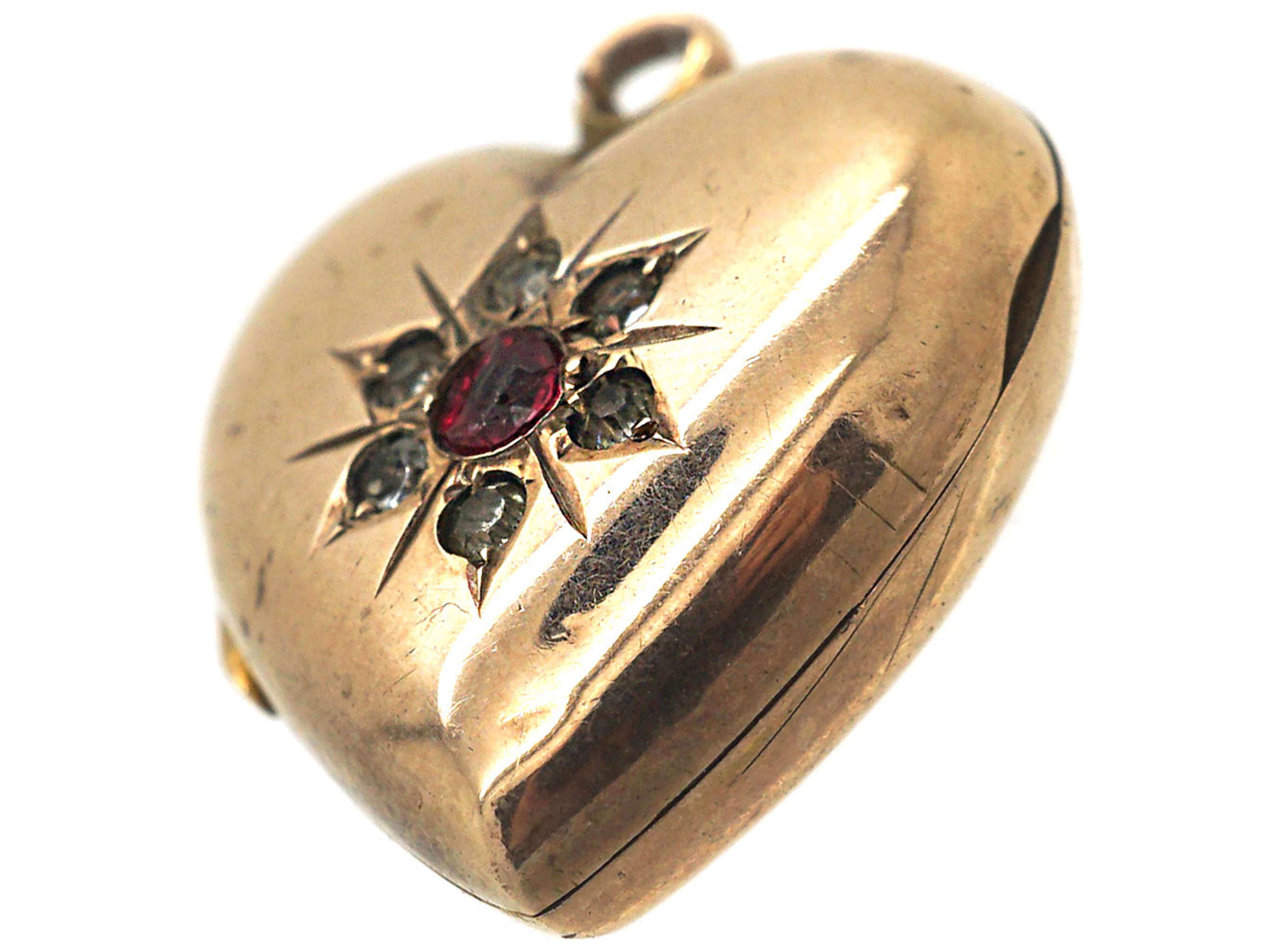 Edwardian 9ct Back & Front Heart Shaped Locket set with Red & White Paste