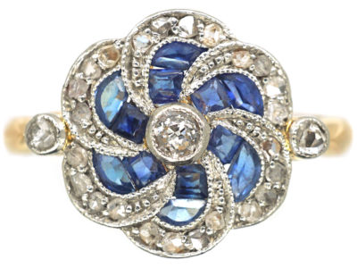 Edwardian 18ct Gold & Platinum Catherine Wheel Design Ring set with Sapphires & Diamonds