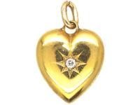 Edwardian 15ct Gold Heart Shaped Pendant set with a Diamond