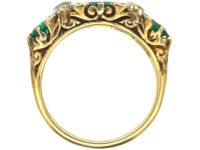 Victorian 18ct Gold, Columbian Emerald & Diamond Five Stone Carved Half Hoop Ring