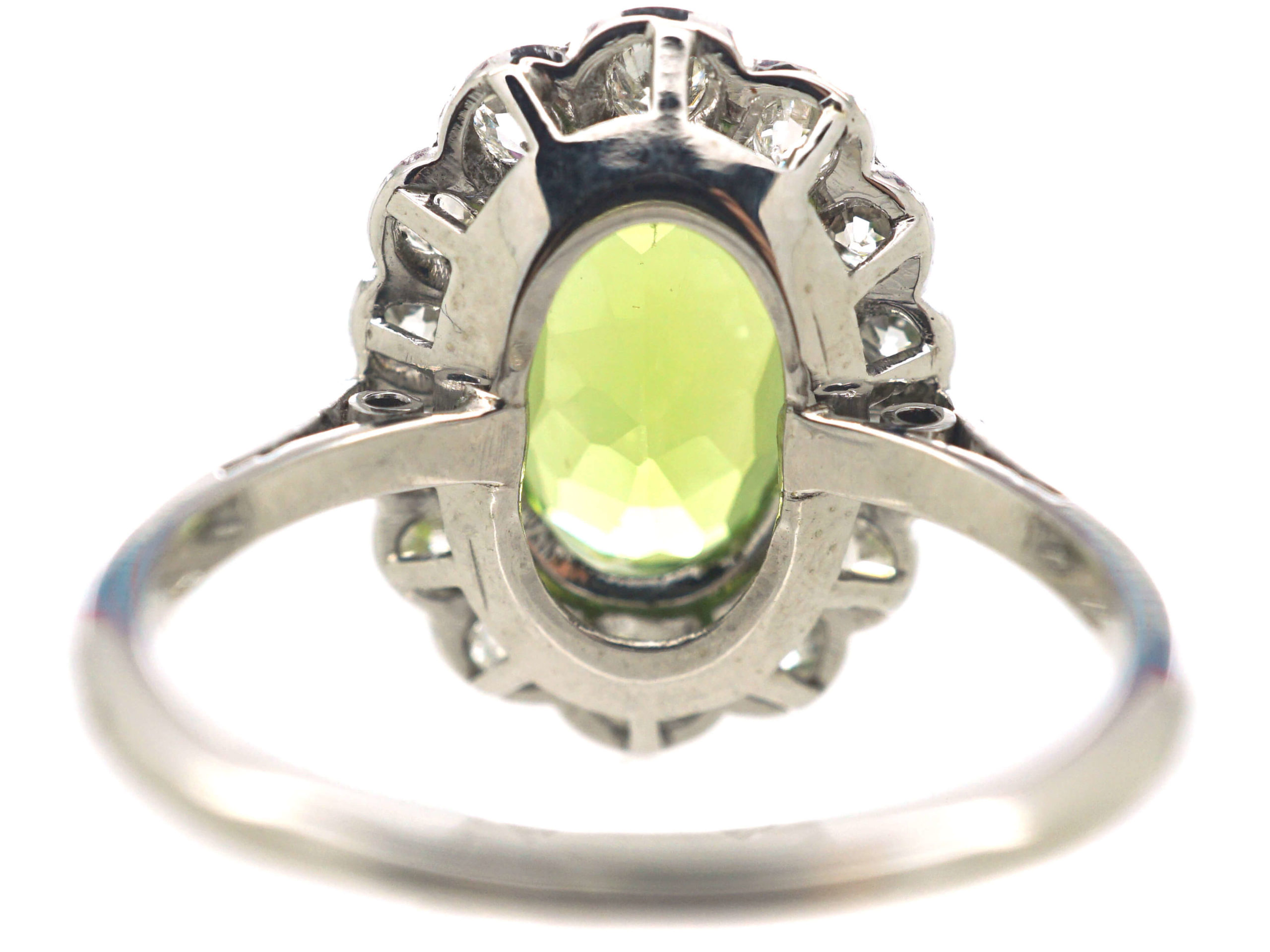 Edwardian 18ct White Gold, Diamond & Peridot Oval Cluster Ring