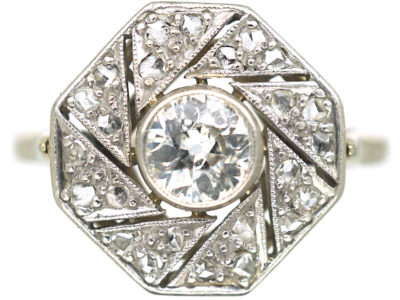 Art Deco Platinum, & Diamond Catherine Wheel Design Ring