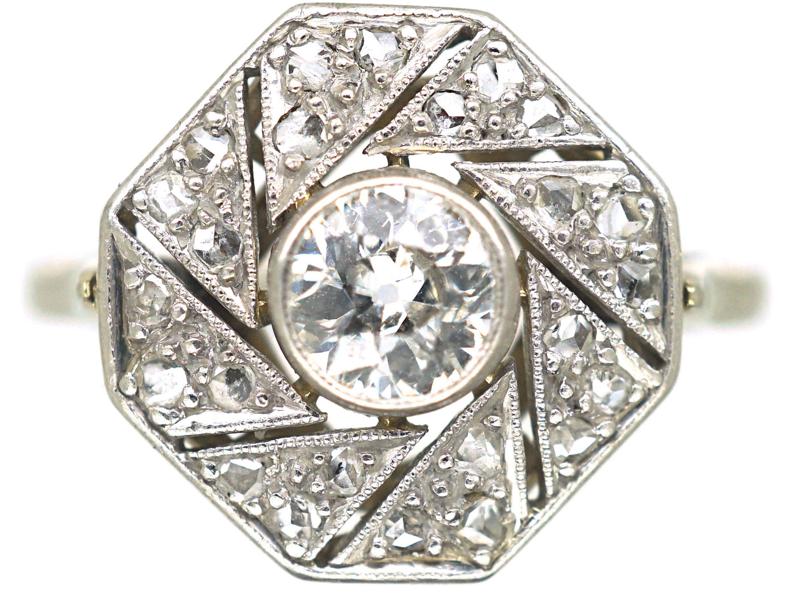 French Art Deco 18ct White Gold and Platinum, Diamond Catherine Wheel Design Ring