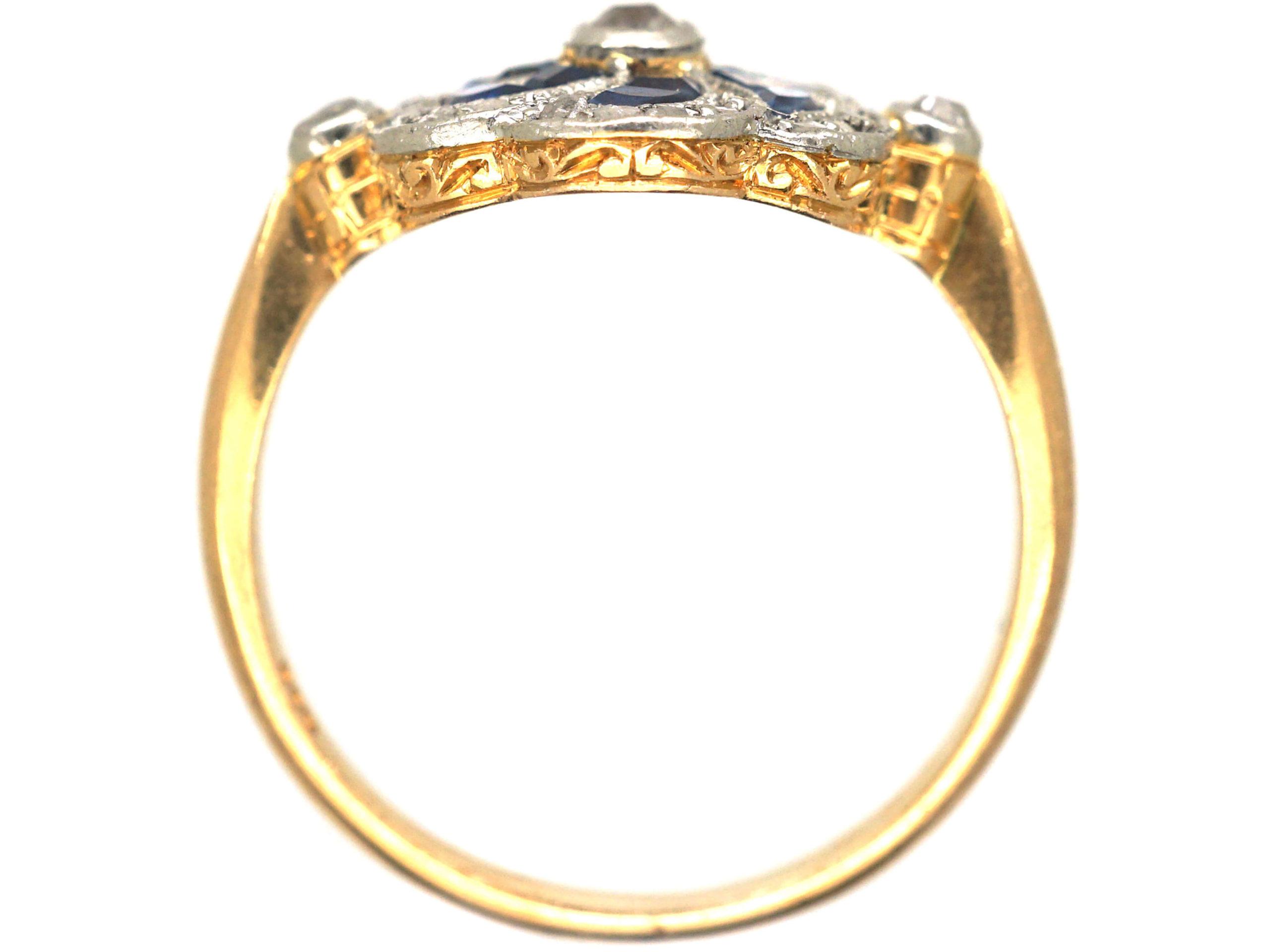 Edwardian 18ct Gold & Platinum Catherine Wheel Design Ring set with Sapphires & Diamonds