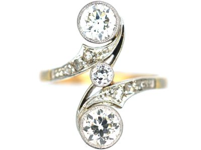 French 18ct Gold & Platinum Art Nouveau Two Stone Diamond Ring