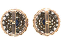 Victorian Sapphire & Rose Diamond Round Earrings
