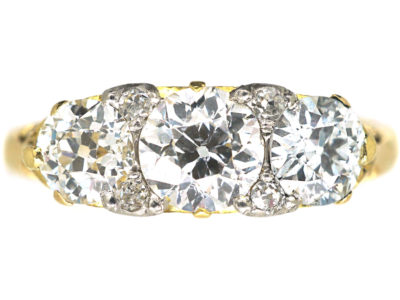 Edwardian 18ct Gold, Three Stone Diamond Ring
