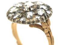 Georgian 14ct Gold & Silver, Rose Diamond Cluster Ring