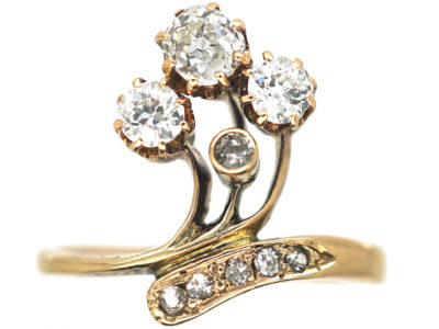 Art Nouveau 18ct Gold & Diamond Flower Spray Ring
