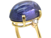 Art Deco 18ct Gold Large Cabochon Sapphire Ring with Diamond Set Shoulders