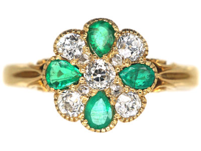 Edwardian 18ct Gold, Emerald & Diamond Cluster Ring