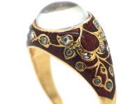 Edwardian 18ct Gold, Moonstone, Enamel & Rose Diamond Ring