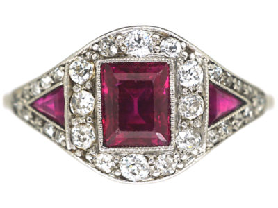 Art Deco Platinum, Ruby & Diamond Ring