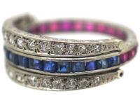 Art Deco 18ct White Gold Sapphire, Diamond & Ruby Flip over Ring