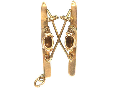 9ct Gold Skis & Poles Pendant / Charm