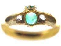 Victorian 18ct Gold Cabochon Emerald & Diamond Three Stone Ring