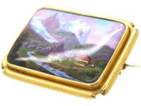 15ct Gold & Swiss Enamel Brooch of a Swiss Mountain Scene