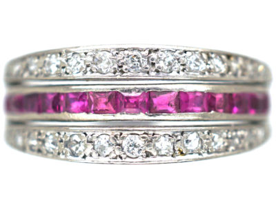 Art Deco 18ct White Gold Sapphire, Diamond & Ruby Flip over Ring