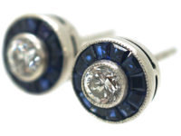 Art Deco 18ct White Gold, Sapphire & Diamond Target Earrings