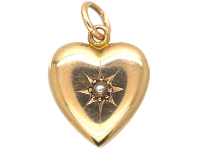 Edwardian 9ct gold Heart Pendant set with a Natural Split Pearl