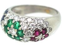 18ct White Gold Tutti Frutti Sapphire, Diamond, Emerald & Ruby Flowers Ring