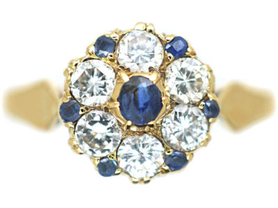Edwardian 18ct Gold, Diamond & Sapphire Cluster Ring