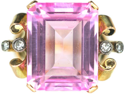 Retro 14ct Gold, Pink Spinel Ring with Diamond Set Shoulders