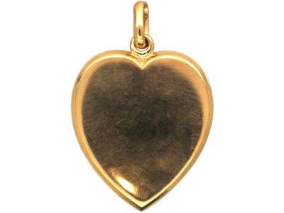 Edwardian Large 9ct Gold Plain Heart Locket