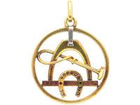 Art Deco 18ct gold & Platinum, Diamond & Ruby Stirrup, Whip & Horseshoe Pendant