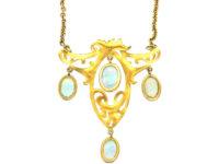Art Nouveau 14ct Gold and Opal Pendant On 18ct Gold Art Nouveau Chain