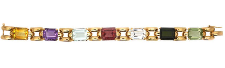 Retro 18ct Gold Multi Gem Bracelet