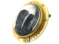 19th Century 14ct Gold Large Reverse Intaglio Crystal of a Cocker Spaniel Pendant & Brooch