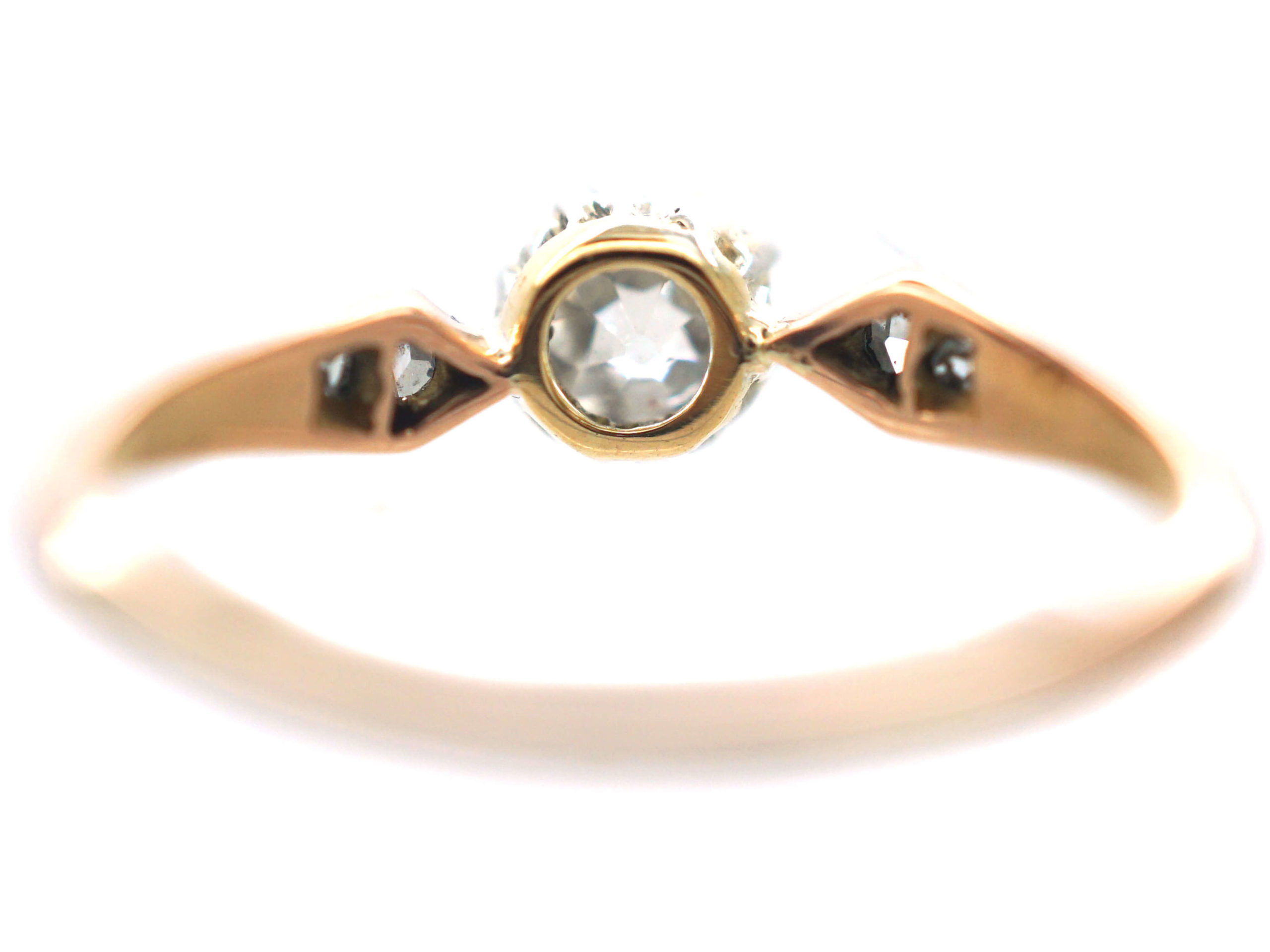 Edwardian 18ct Rose Gold & Platinum, Diamond Solitaire Ring with Rose Diamond Set Shoulders