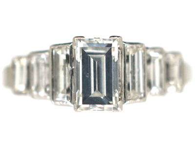 Art Deco Platinum Seven Stone Baguette Step Cut Diamond Ring
