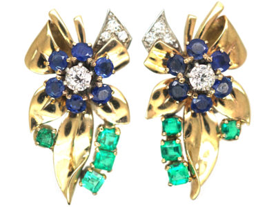 Retro 18ct Gold, Emerald Diamond & Sapphire Earrings