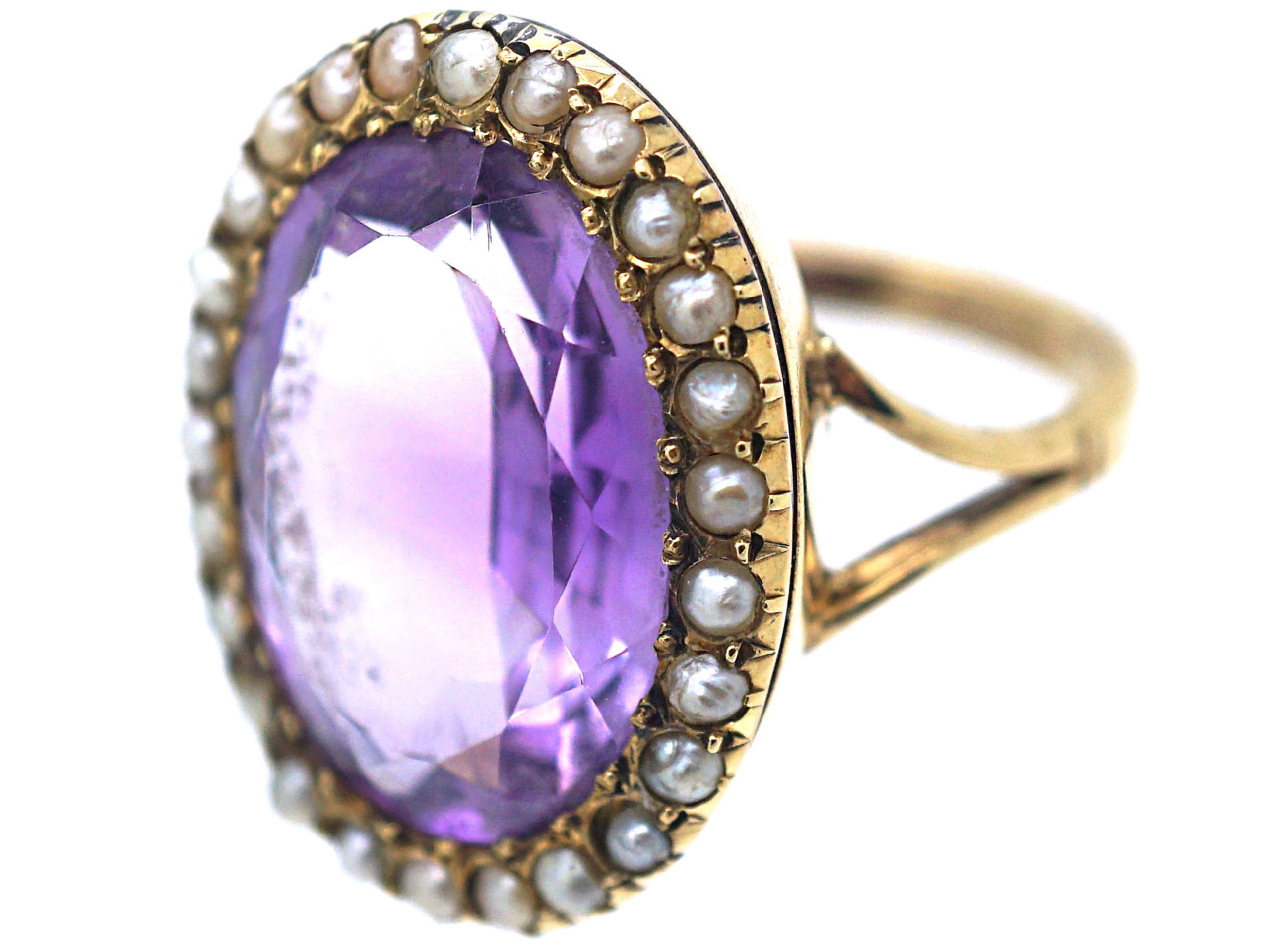 Large 15ct Gold Amethyst & Natural Split Pearl Ring