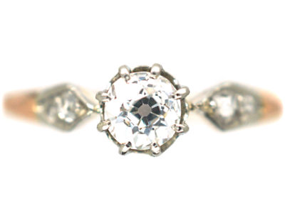 Edwardian 18ct Rose Gold and Platinum Solitaire Diamond Ring with Diamond set Shoulders