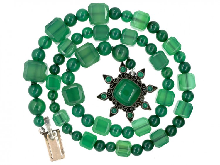 Green Chalcedony & Silver Necklace Attributed to Sybil Dunlop
