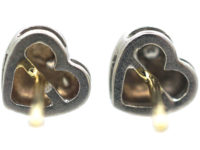 18ct White Gold Heart Shaped Earrings set with Diamonds
