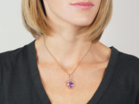 Edwardian 9ct Gold Heart Pendant set with Natural Split Pearls & a Heart Shaped Amethyst