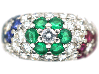 18ct White Gold Tutti Fritti Sapphire, Diamond, Emerald & Ruby Flowers Ring
