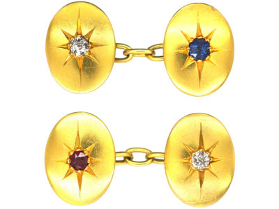 Victorian 18ct Gold Oval Cufflinks set with a Sapphire, Ruby & Diamonds